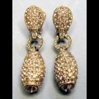 TARA Клипсы винтажные с золотыми кристаллами