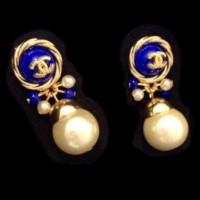 CHANEL  Серьги синии с логотипом