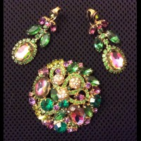 """JULIANA Комплект винтажный  """"Арбузное стекло  и кристаллы в покрытии Aurora Borealis """""""