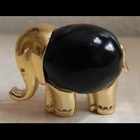 """KJL Брошь - кулон """"Слон с черным ониксом"""""""