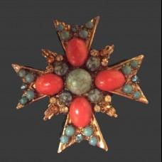 Брошь-кулон винтажная Мальтийский крест -10