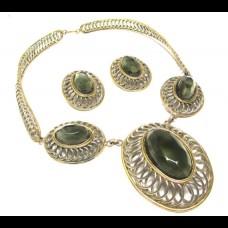 """Комплект винтажный ожерелье и серьги """"Оливки"""""""