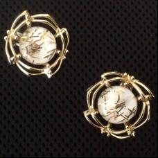TARA Клипсы винтажные  с золотыми вкроплениями